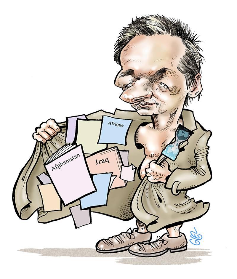 dessin d'actualité humoristique sur l'arrestation de Julian Assange, fondateur de Wikileaks