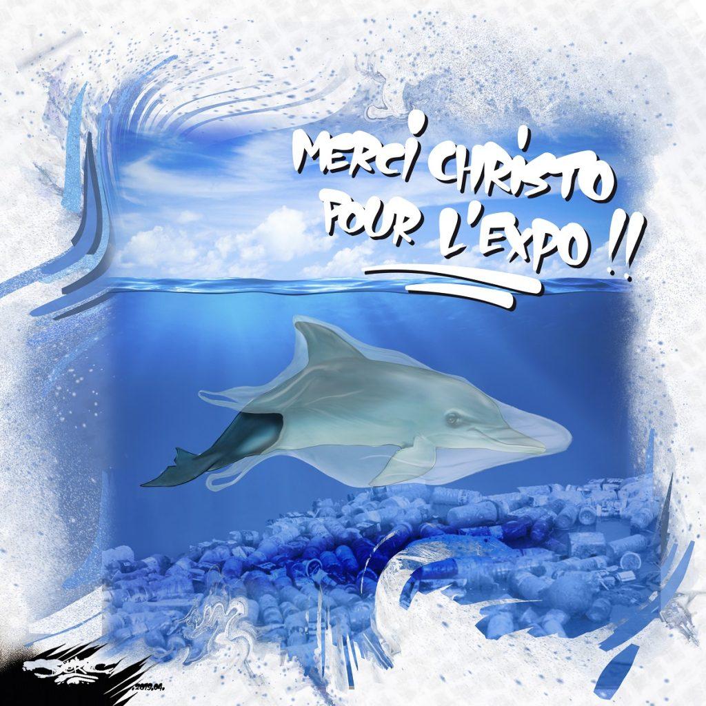 dessin d'actualité humoristique sur l'exposition Christo de 2020 et la pollution plastique