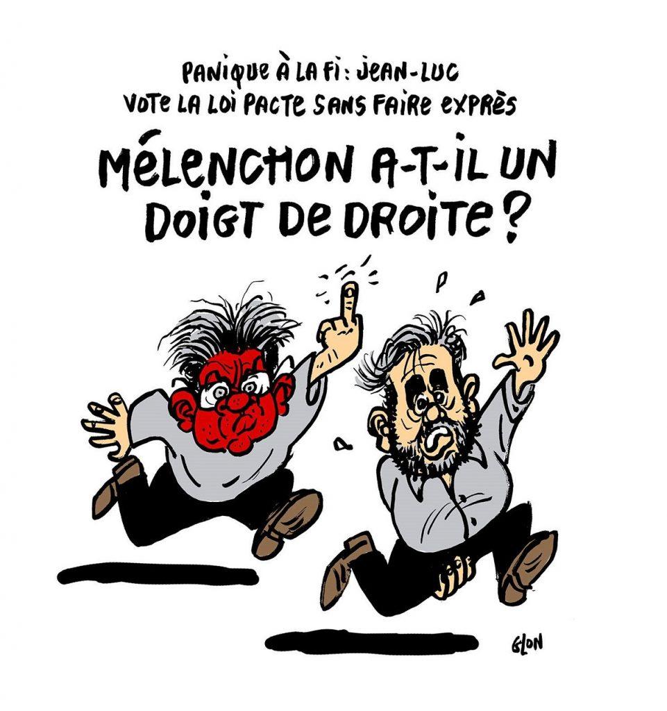 dessin d'actualité humoristique sur le vote « par erreur » de Jean-Luc Mélenchon