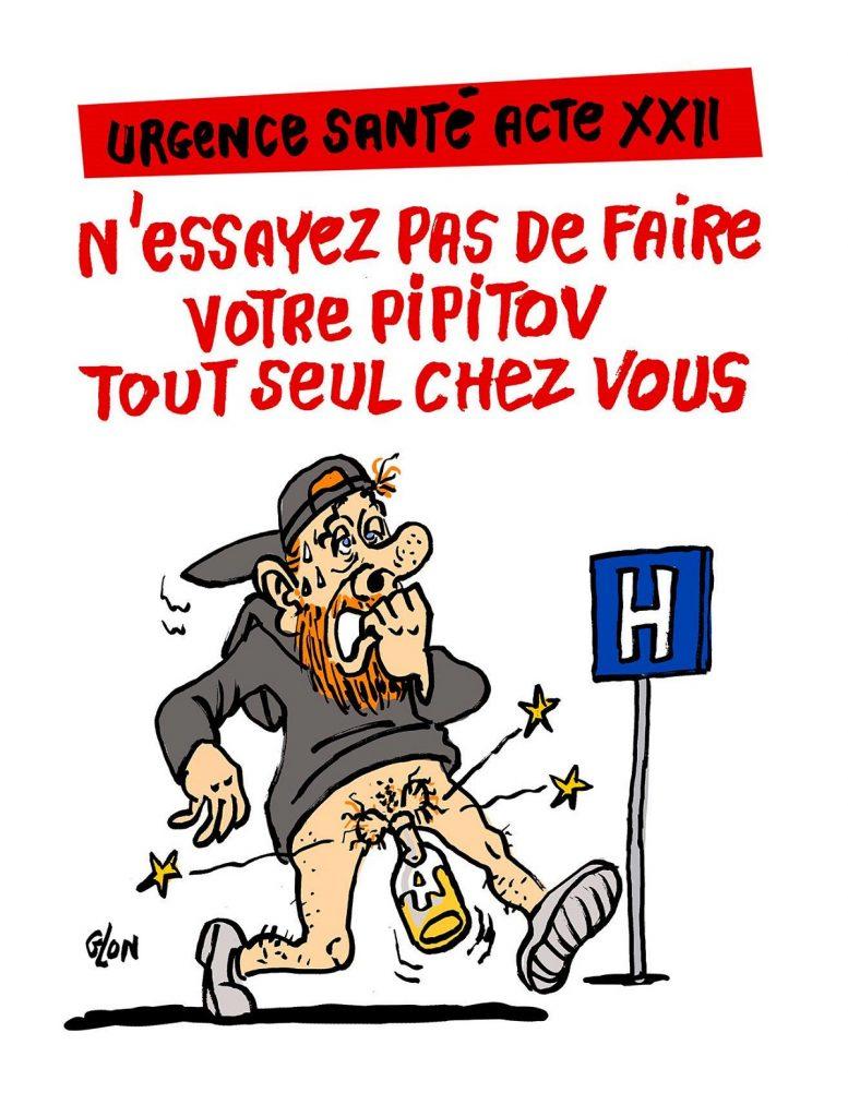 dessin d'actualité humoristique sur Maxime Nicolle et le danger de l'utilisation des pipitov par les gilets jaunes