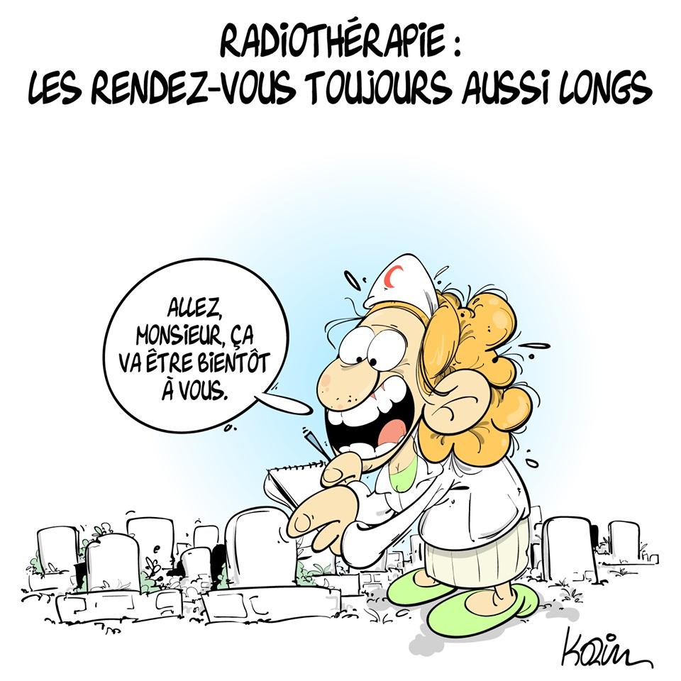 dessin d'actualité humoristique sur l'attente pour des rendez-vous de radiothérapie en Algérie