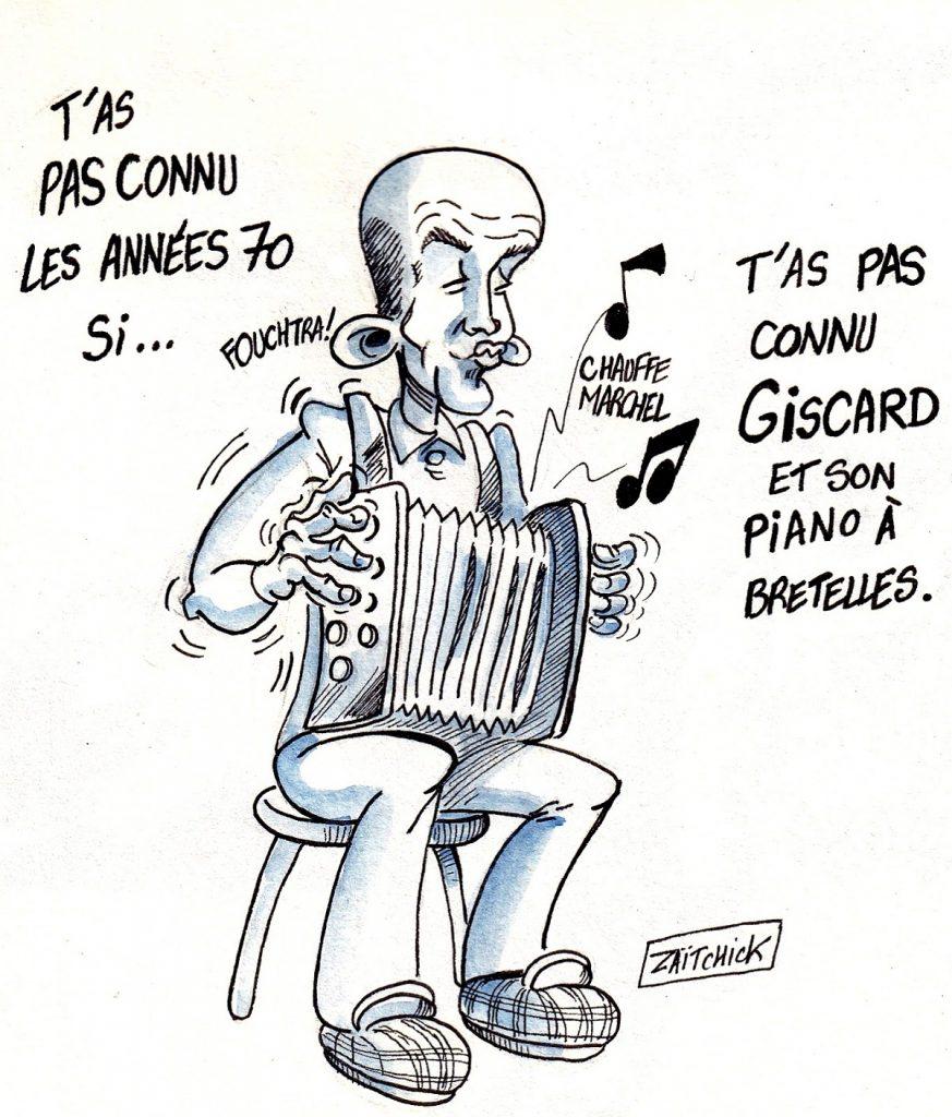 dessin d'actualité humoristique sur l'accordéon de Valéry Giscard d'Estaing