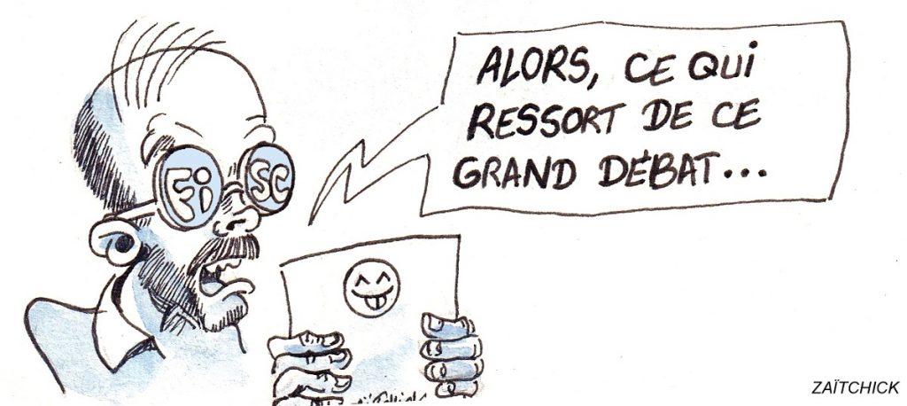dessin d'actualité humoristique sur la synthèse du grand débat par Édouard Philippe