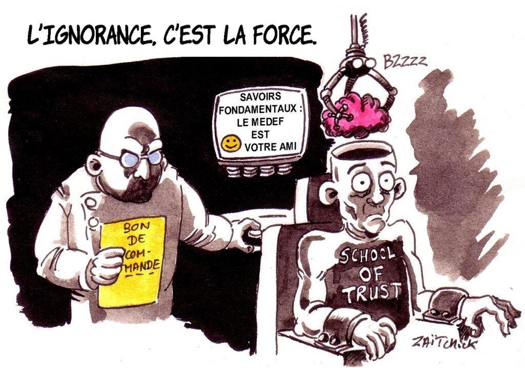 dessin d'actualité humoristique sur la loi Blanquer et l'école de la confiance