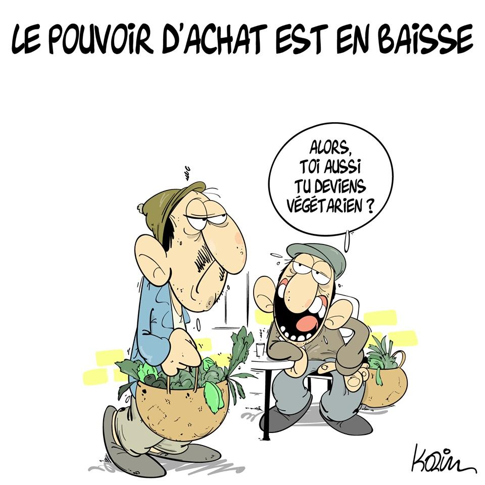 dessin d'actualité humoristique sur la baisse du pouvoir d'achat en Algérie