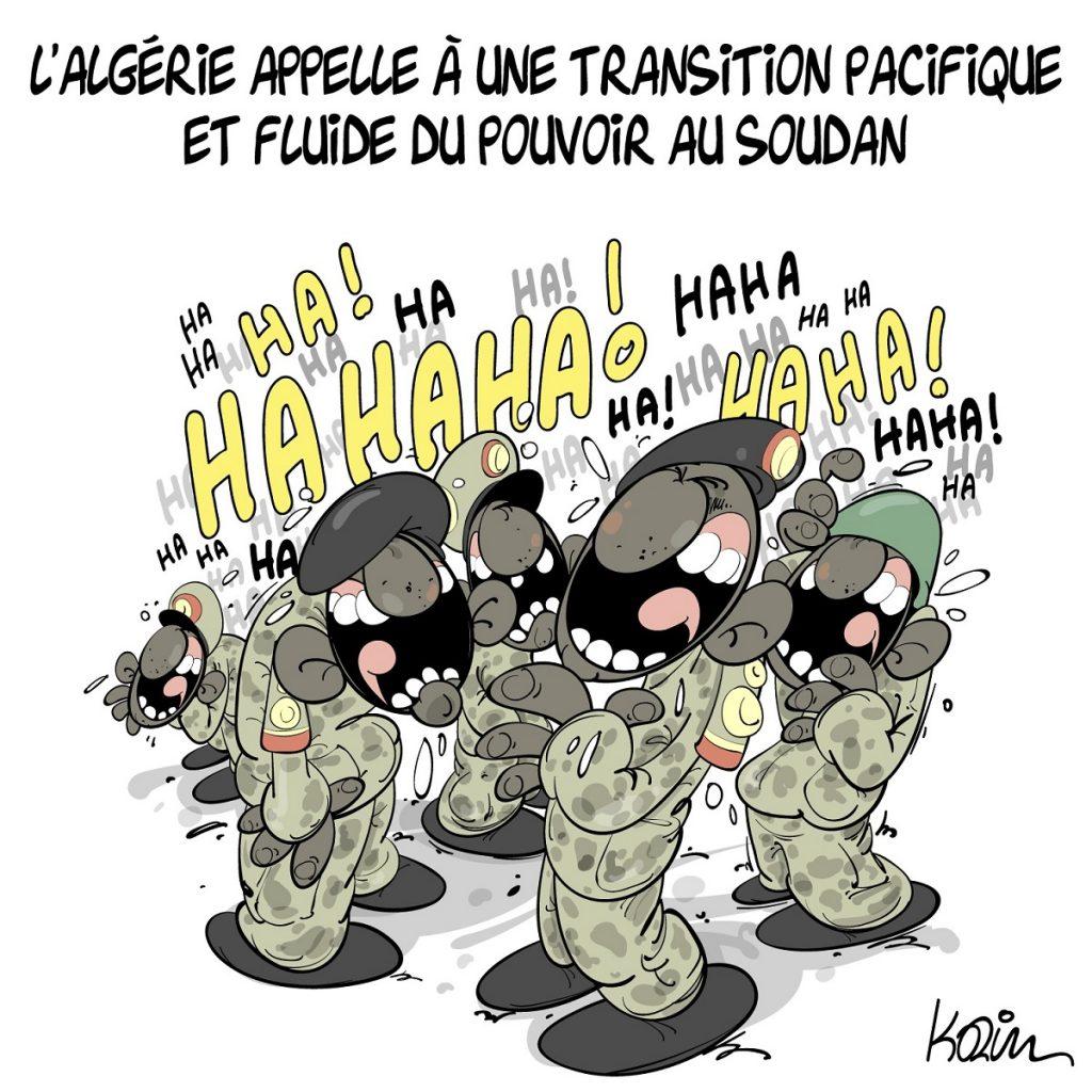 dessin d'actualité humoristique sur l'appel de l'Algérie pour une transition pacifique du pouvoir au Soudan