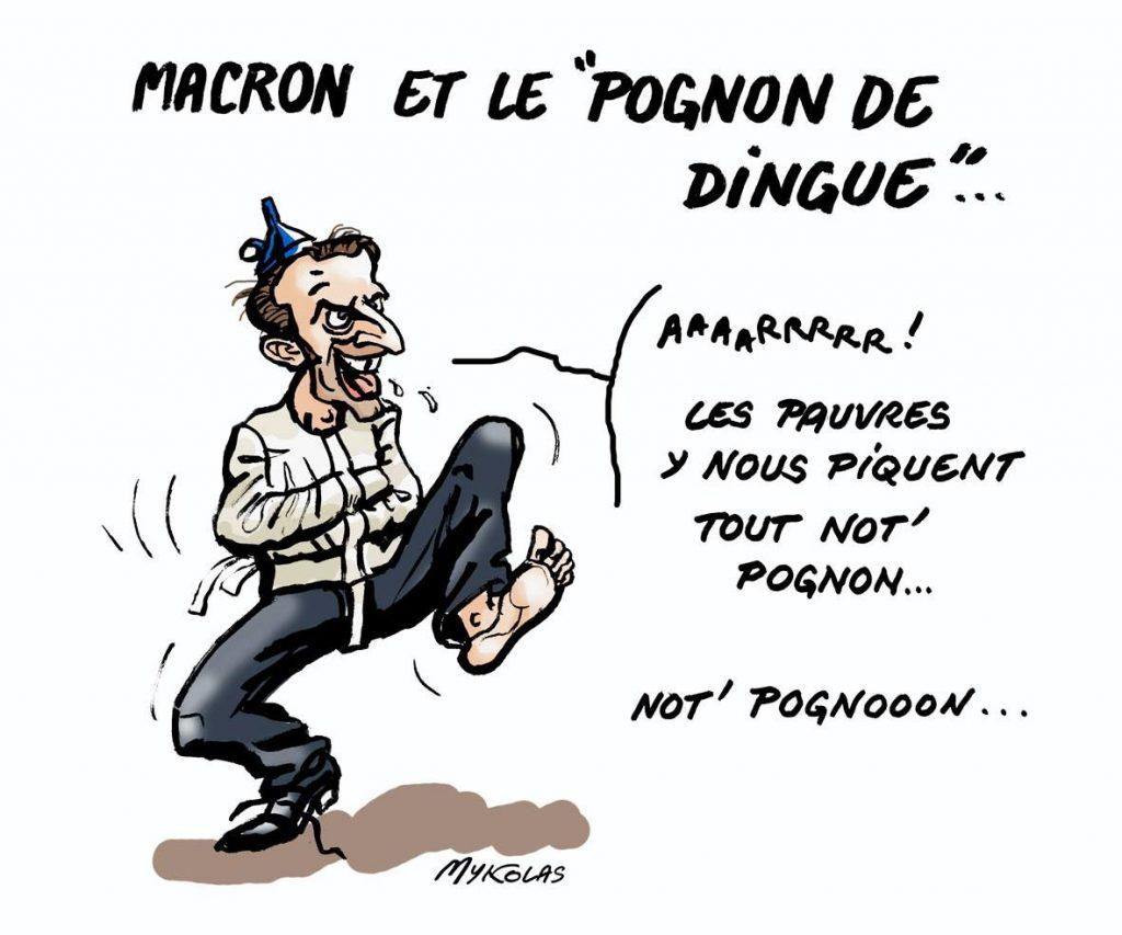 dessin d'actualité humoristique sur Emmanuel Macron et son pognon de dingue