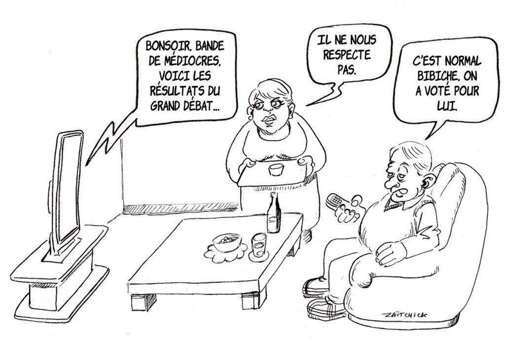 dessin d'actualité humoristique sur l'allocution d'Emmanuel Macron présentant les conclusions du Grand Débat