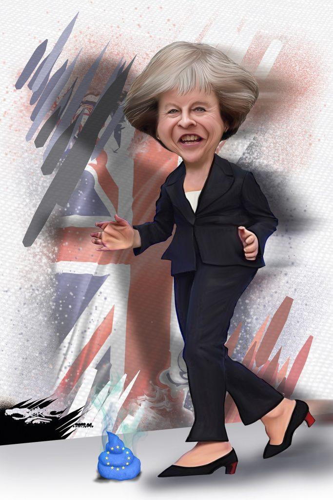 dessin d'actualité humoristique sur Theresa May et le Brexit