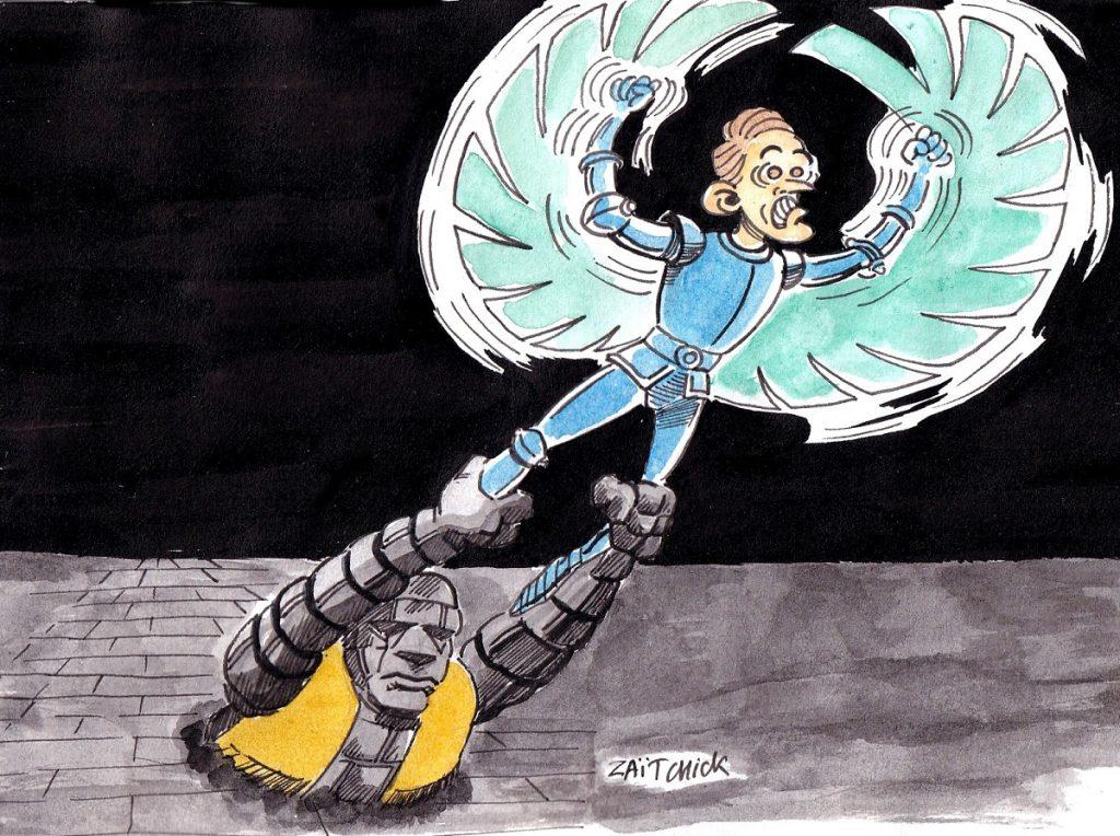 dessin d'actualité humoristique sur Emmanuel Macron et le mouvement des Gilets Jaunes