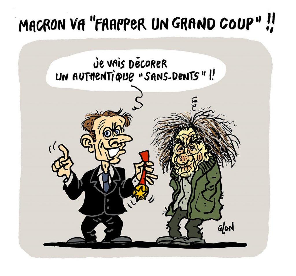 dessin d'actualité humoristique sur la décoration de Michel Houellebecq par Emmanuel Macron