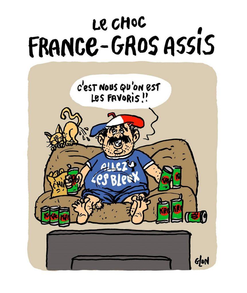 dessin d'actualité humoristique sur le match France-Croatie pendant la Coupe du Monde
