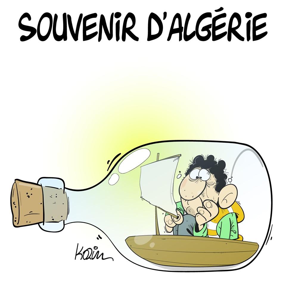 dessin d'actualité humoristique sur le départ du pays de nombreux algériens
