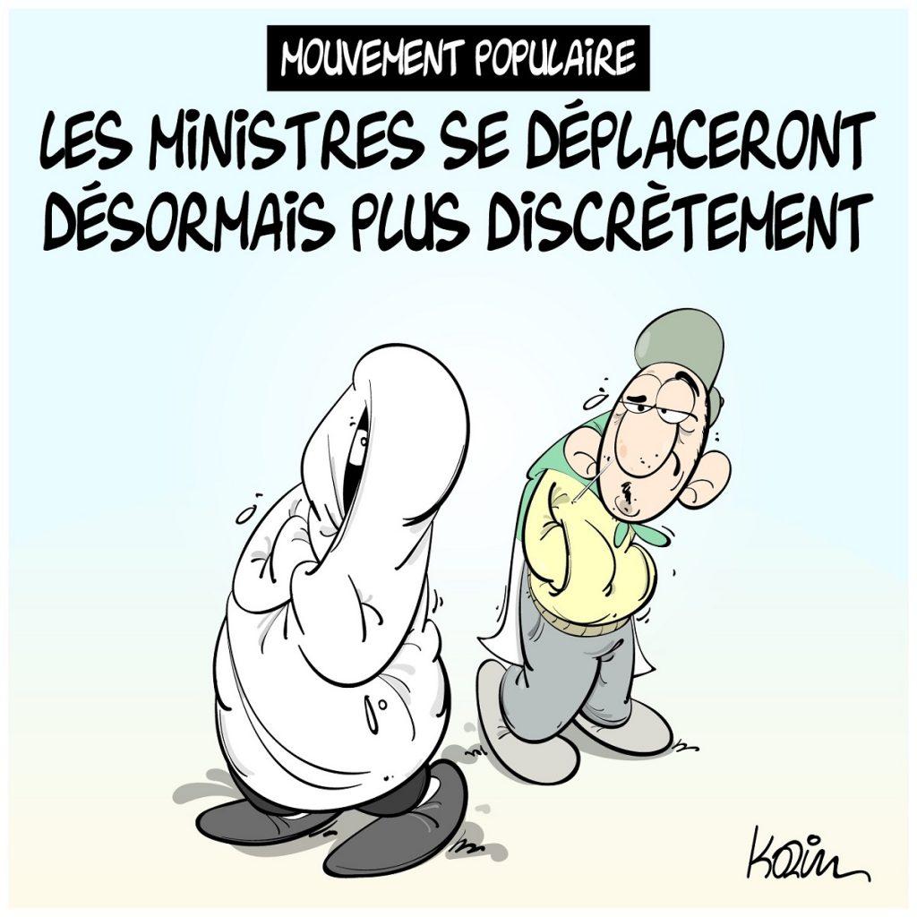 dessin d'actualité humoristique sur les ministres algériens confrontés au mouvement populaire