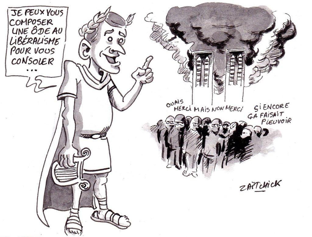 dessin d'actualité humoristique sur le dramatique incendie de Notre-Dame de Paris et la réaction d'Emmanuel Macron