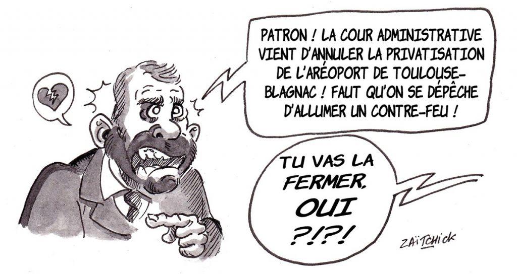 dessin d'actualité humoristique sur l'incendie de Notre-Dame de Paris et l'annulation de la privatisation de l'aéroport de Toulouse-Blagnac