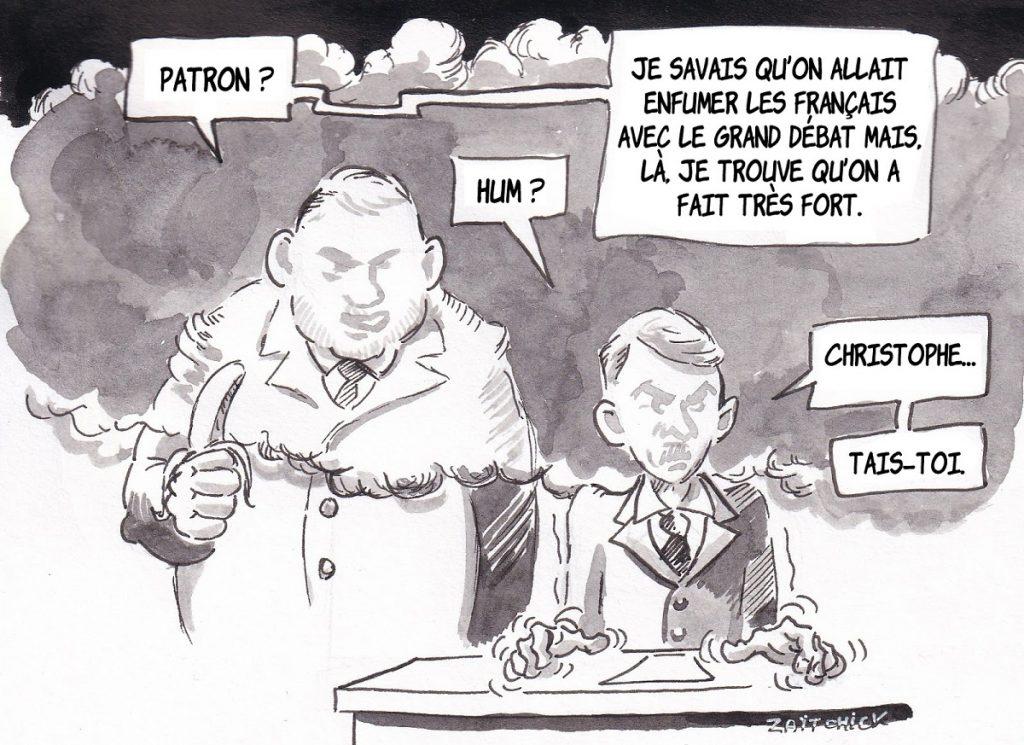 dessin d'actualité humoristique sur le dramatique incendie de Notre-Dame de Paris et le grand débat