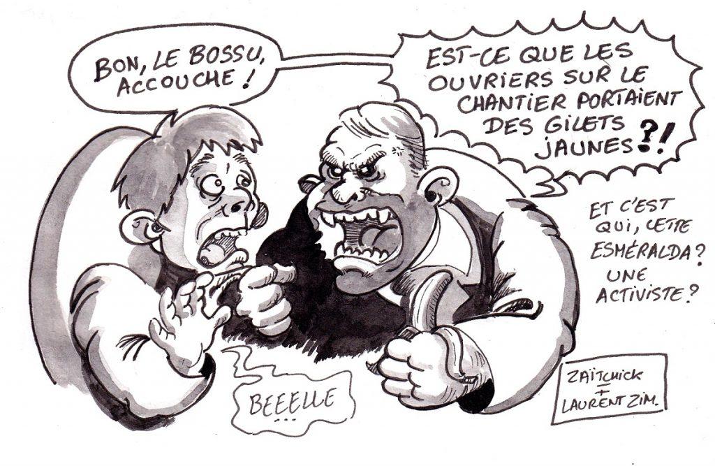 dessin d'actualité humoristique sur le dramatique incendie de Notre-Dame de Paris, le mouvement des gilets jaunes et l'enquête en cours