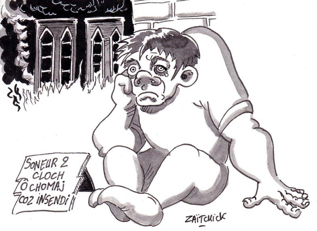 dessin d'actualité humoristique sur le dramatique incendie de Notre-Dame de Paris