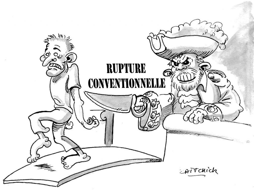 dessin d'actualité humoristique sur la rupture conventionnelle collective