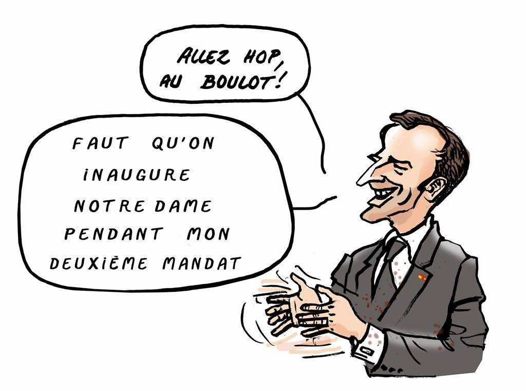 dessin d'actualité humoristique sur la reconstruction de Notre-Dame de Paris et le deuxième mandat d'Emmanuel Macron
