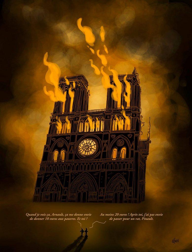dessin d'actualité humoristique sur l'incendie de Notre-Dame de Paris et les dons de François Pinault et Bernard Arnault