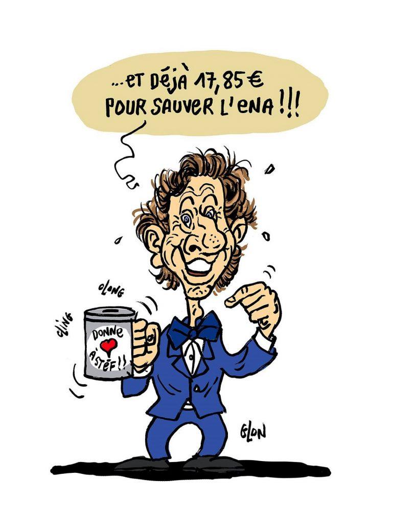 dessin d'actualité humoristique sur l'incendie de Notre-Dame de Paris et la suppression de l'ENA