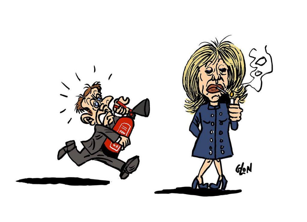 dessin d'actualité humoristique sur l'incendie de Notre-Dame de Paris et les postures d'Emmanuel Macron et Brigitte Macron
