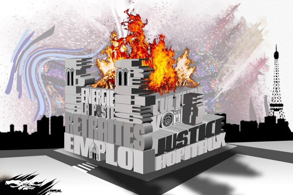 dessin d'actualité humoristique sur l'incendie de Notre-Dame de Paris et les services publics qui flambent