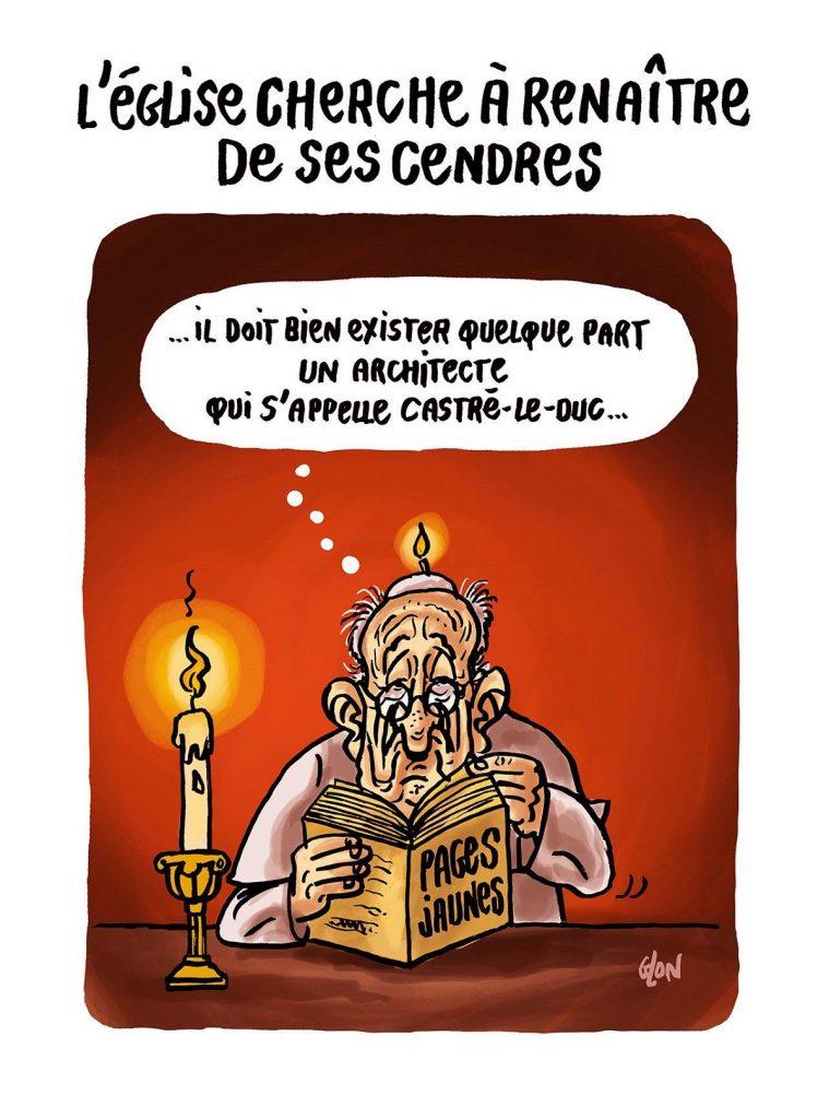 dessin d'actualité humoristique sur l'incendie de Notre-Dame de Paris, le Pape François et les problème de pédophilie dans l'église