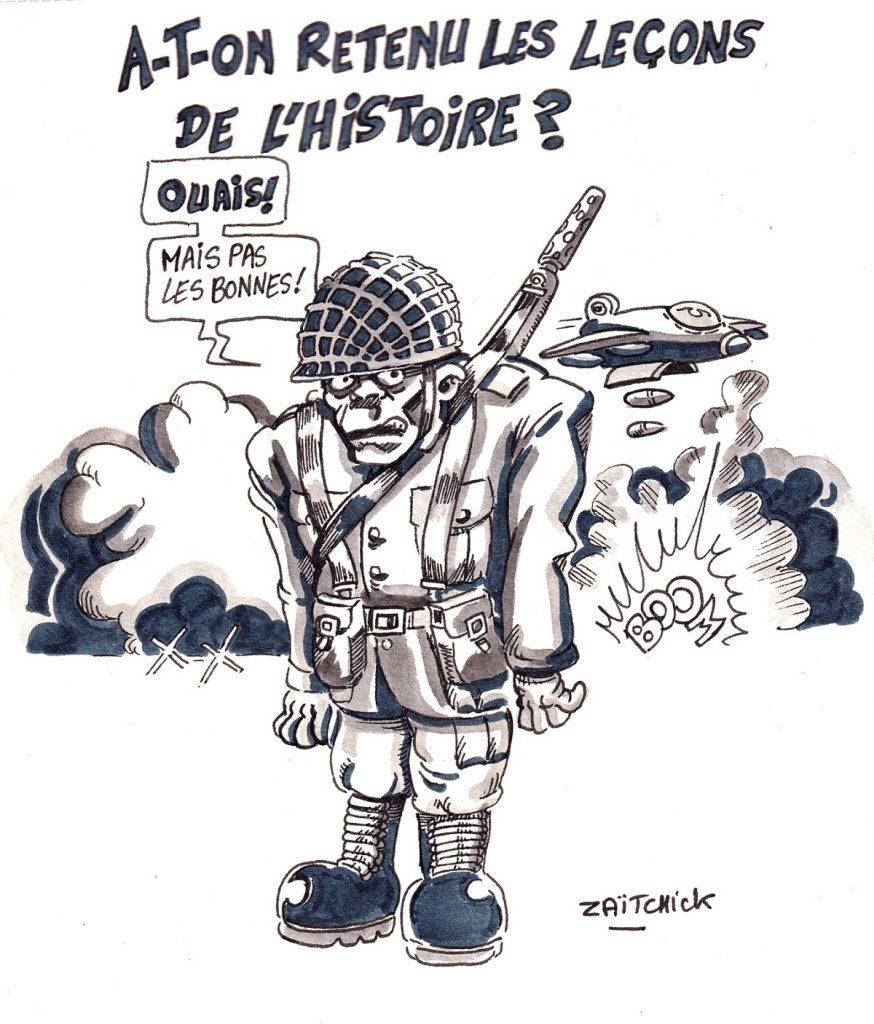 dessin d'actualité humoristique sur les ventes d'armes de la France au Yémen