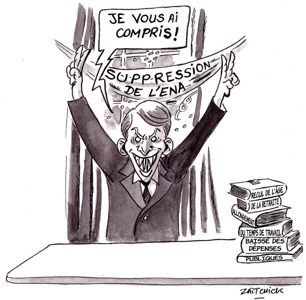 dessin d'actualité humoristique sur les annonces d'Emmanuel Macron sur le grand débat après l'incendie de Notre-Dame de Paris