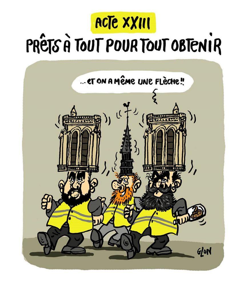 dessin d'actualité humoristique sur l'incendie de Notre-Dame de Paris et l'acte 23 des gilets jaunes
