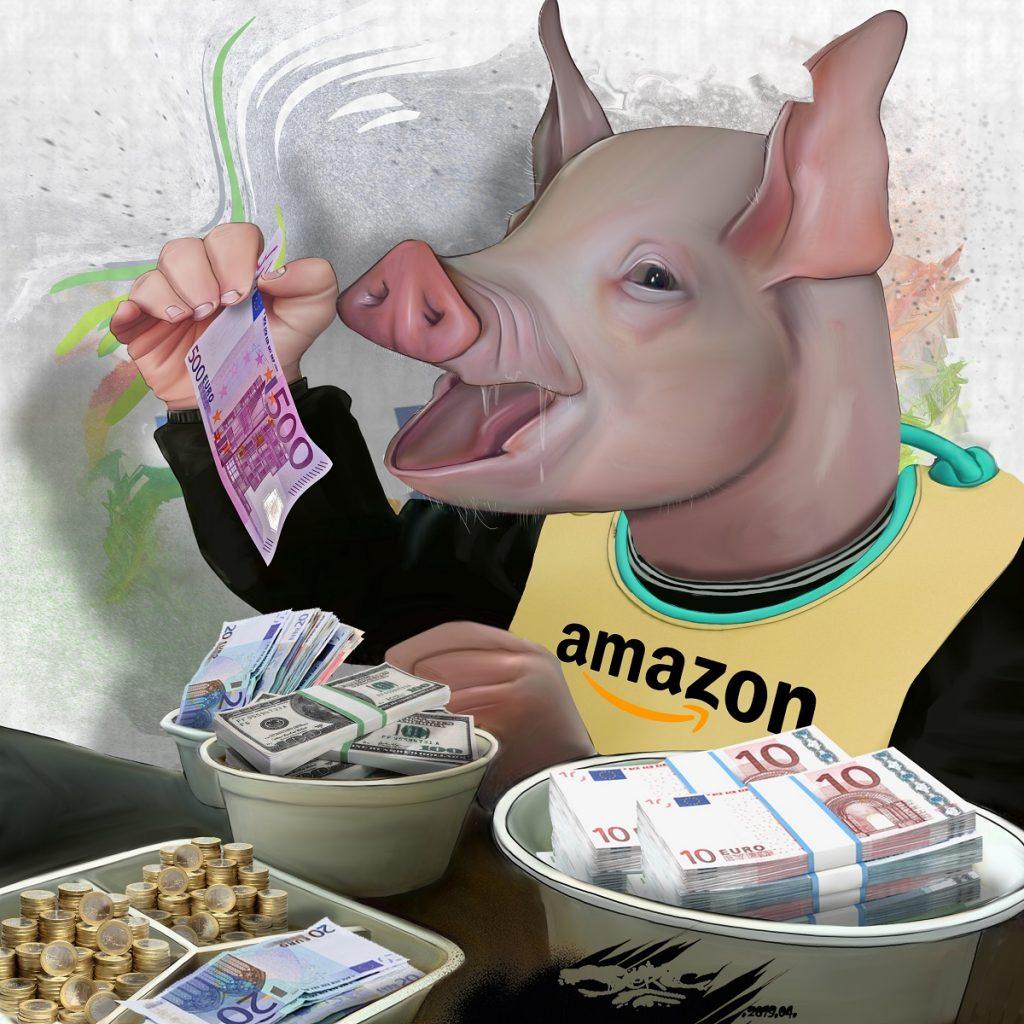 dessin d'actualité humoristique sur le monopole capitalistique d'Amazon