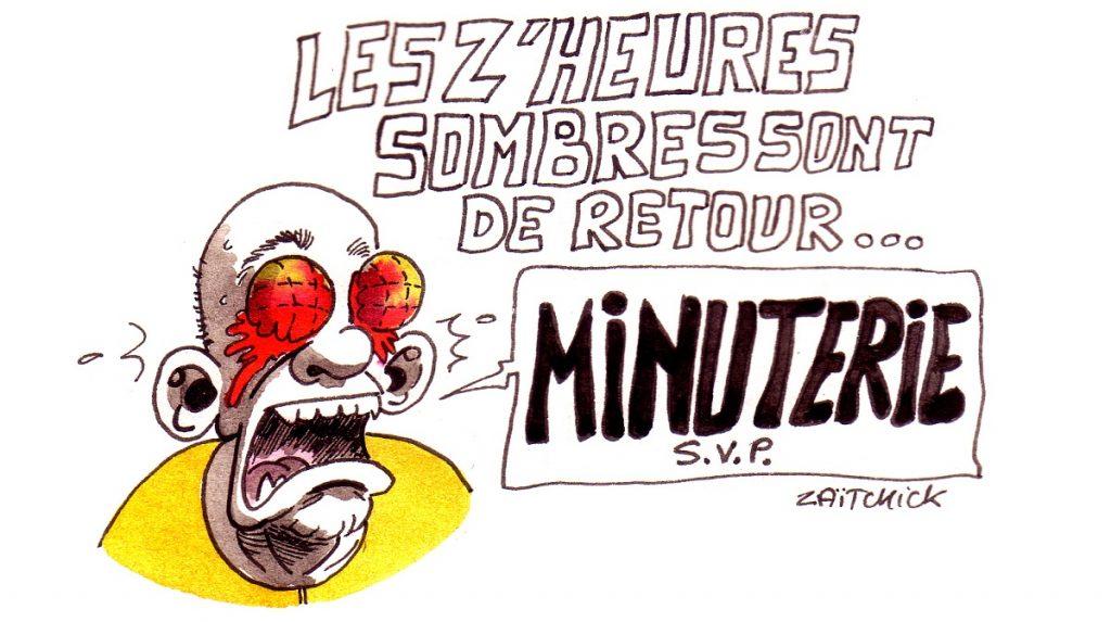 dessin d'actualité humoristique sur le retour des heures sombres