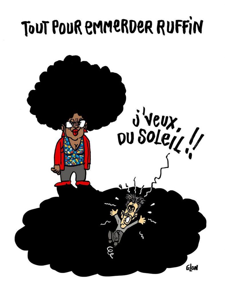 dessin d'actualité humoristique sur nomination de Sibeth Ndiaye en tant que porte-parole du gouvernent et la réaction de François Ruffin