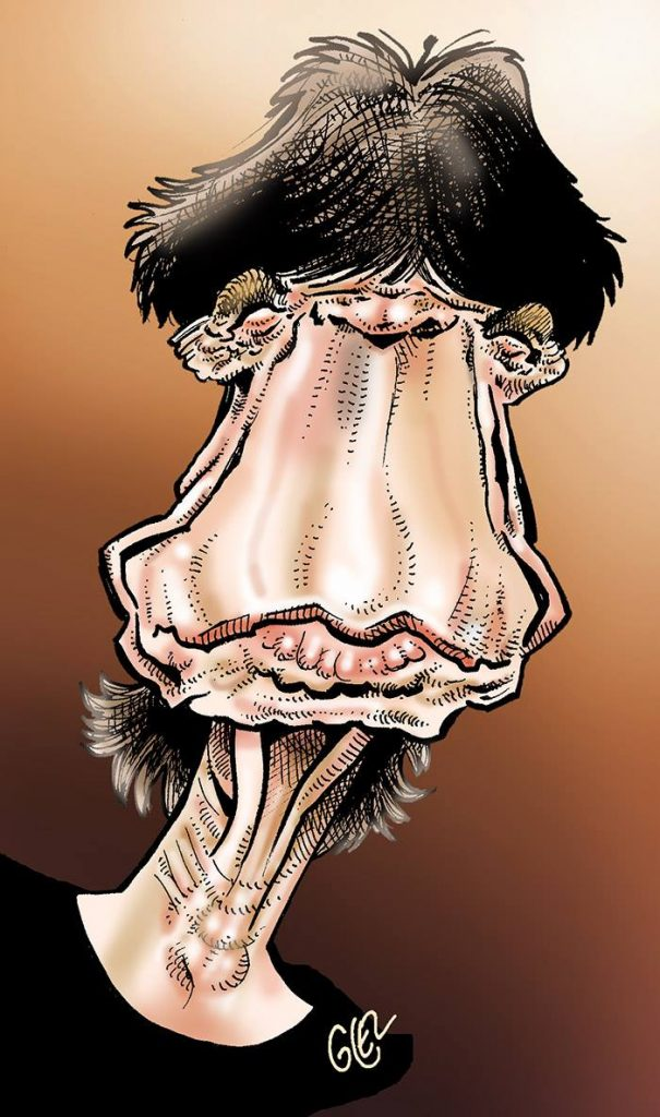 caricature-portrait de Mick Jagger par Glez