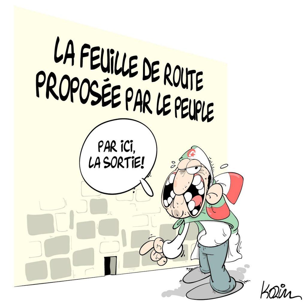 dessin d'actualité humoristique sur la démission d'Abdelaziz Bouteflika provoquée par la révolte du peuple