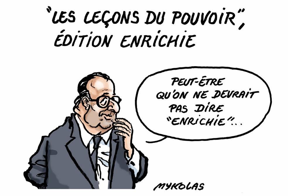 """dessin d'actualité humoristique sur l'édition 2019 enrichie du livre de François Hollande """"Les leçons du pouvoir"""""""
