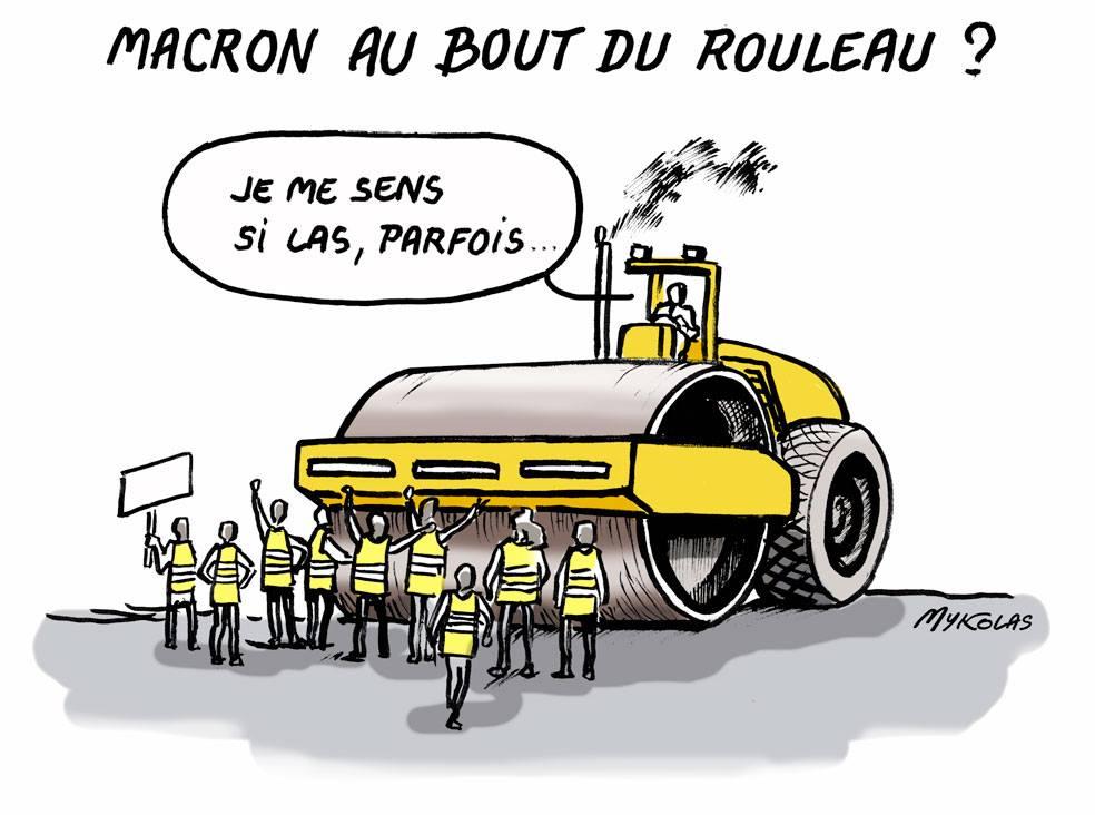dessin d'actualité humoristique sur la fatigue d'Emmanuel Macron face au mouvement des gilets jaunes