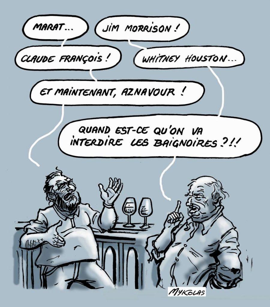 dessin d'actualité humoristique sur la mort de Charles Aznavour