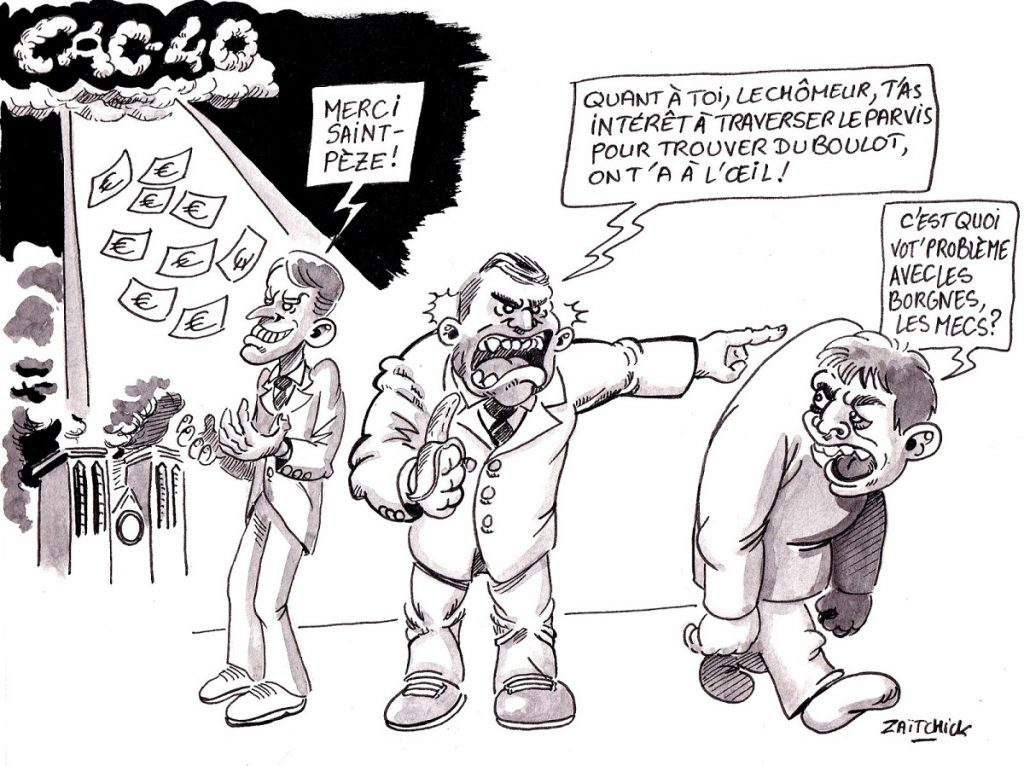 dessin d'actualité humoristique sur les dons des patrons du CAC40 après l'incendie de Notre-Dame de Paris