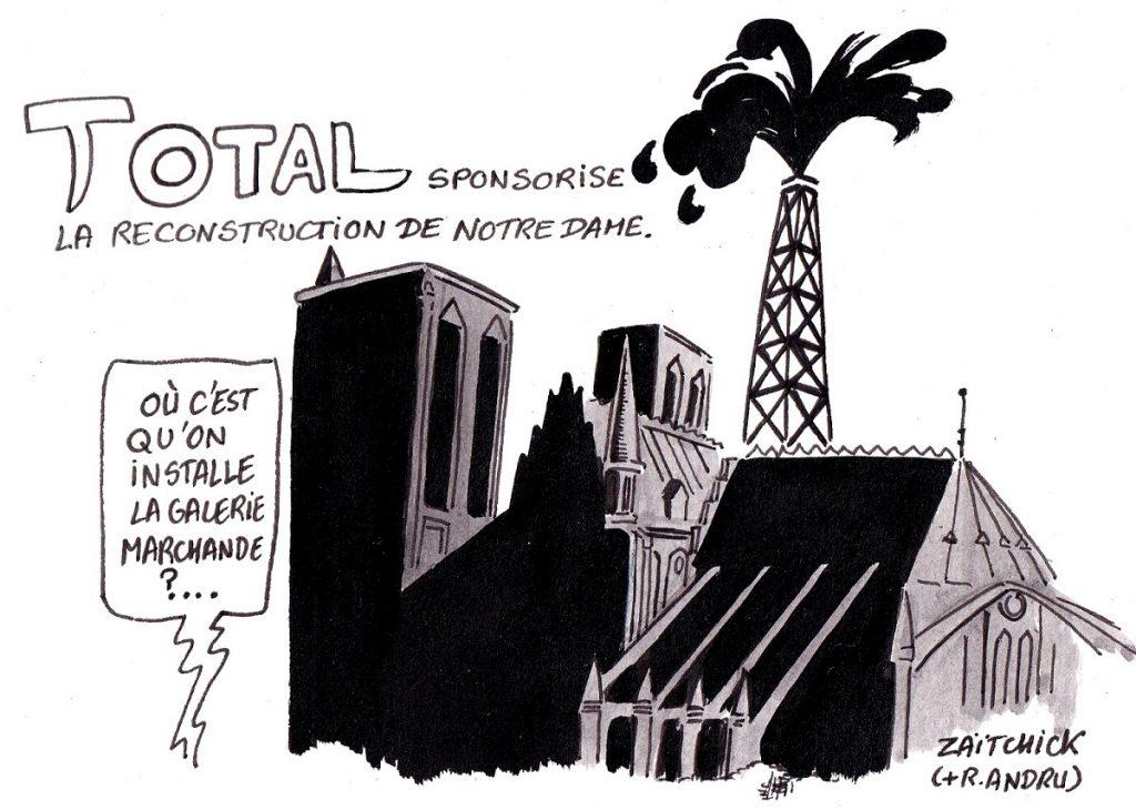 dessin d'actualité humoristique sur la reconstruction de Notre-Dame de Paris et les dons des entreprises du CAC40