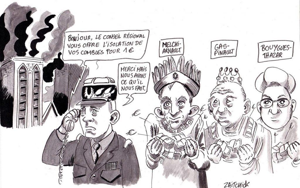 dessin d'actualité humoristique sur la reconstruction de Notre-Dame de Paris par le général Georgelin et les dons des patrons du CAC 40