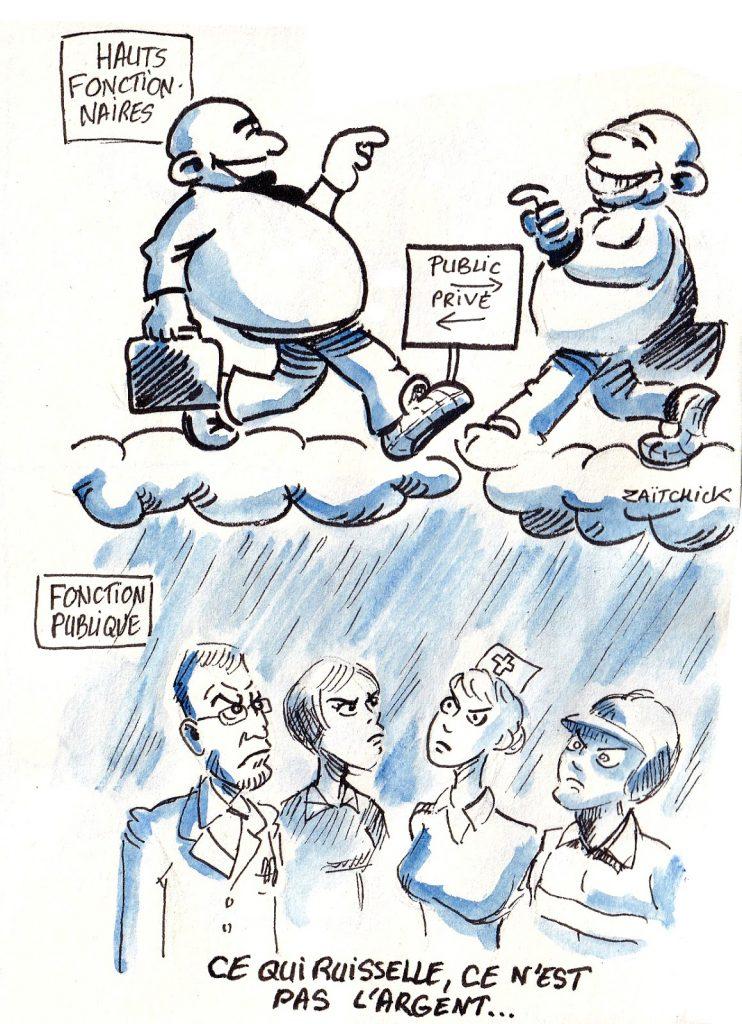 dessin d'actualité humoristique sur la fonction publique, la théorie du ruissellement et le pantouflage des hauts fonctionnaires
