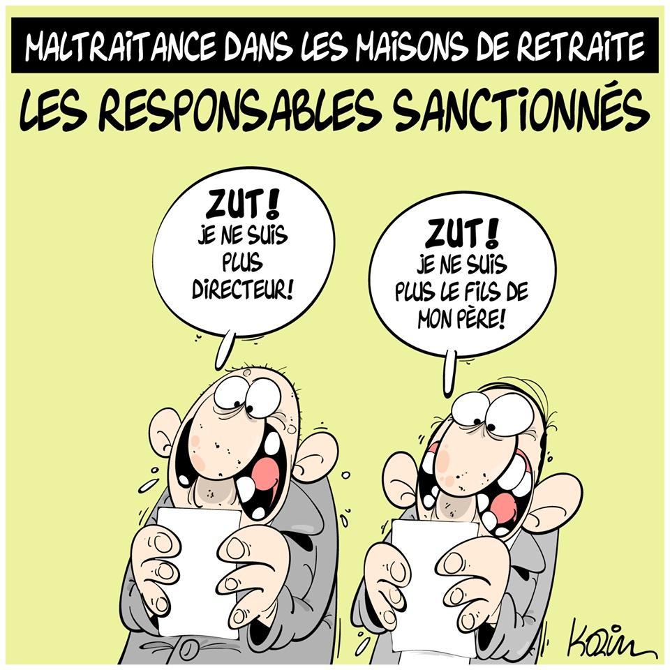 dessin d'actualité humoristique sur les maltraitances dans les maisons de retraite