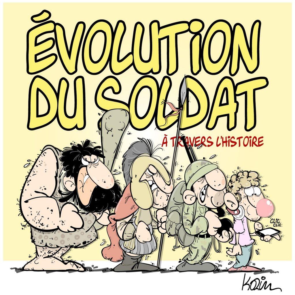 dessin d'actualité humoristique sur l'évolution du soldat à travers l'Histoire
