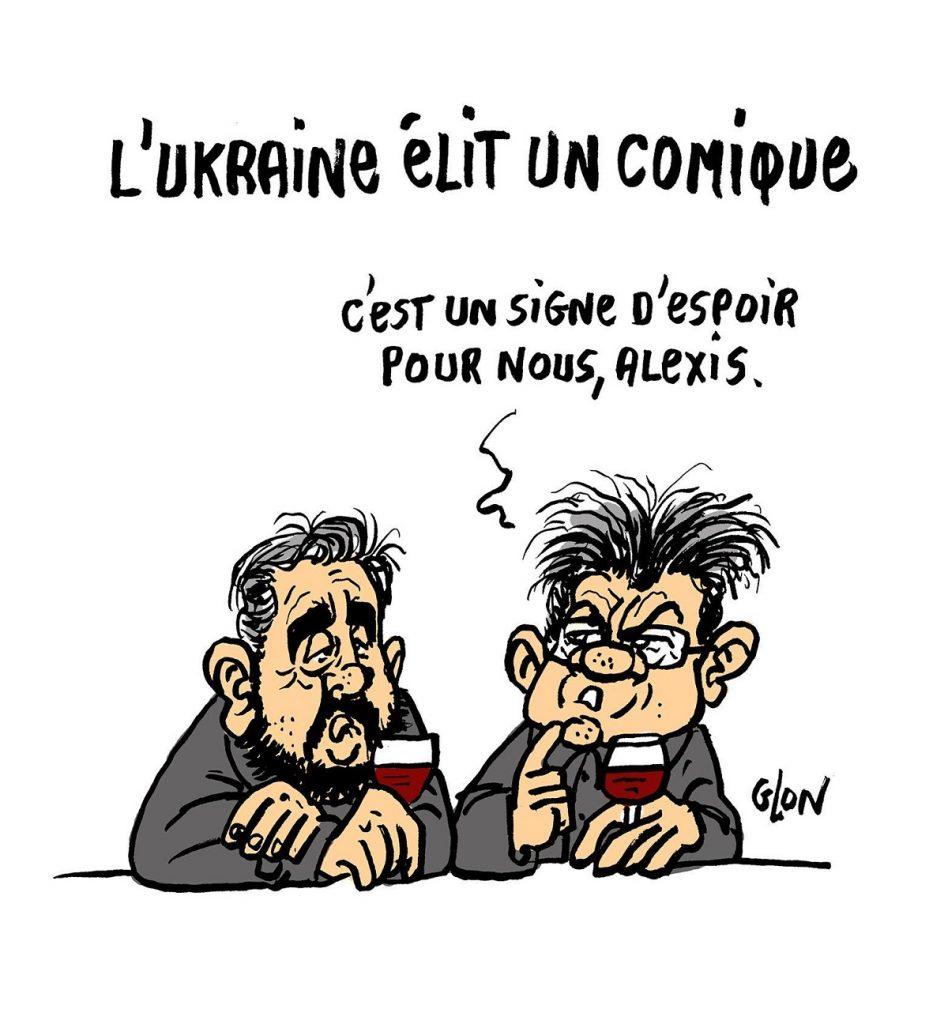 dessin d'actualité humoristique sur la réaction de Jean-Luc Mélenchon et l'élection de Zelensky en Ukraine
