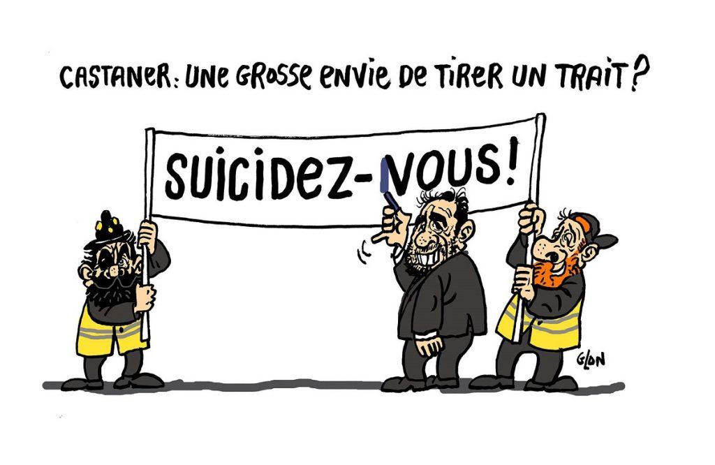 dessin d'actualité humoristique sur les slogans « suicidez-vous » lancés pendant l'acte 23 des Gilets Jaunes