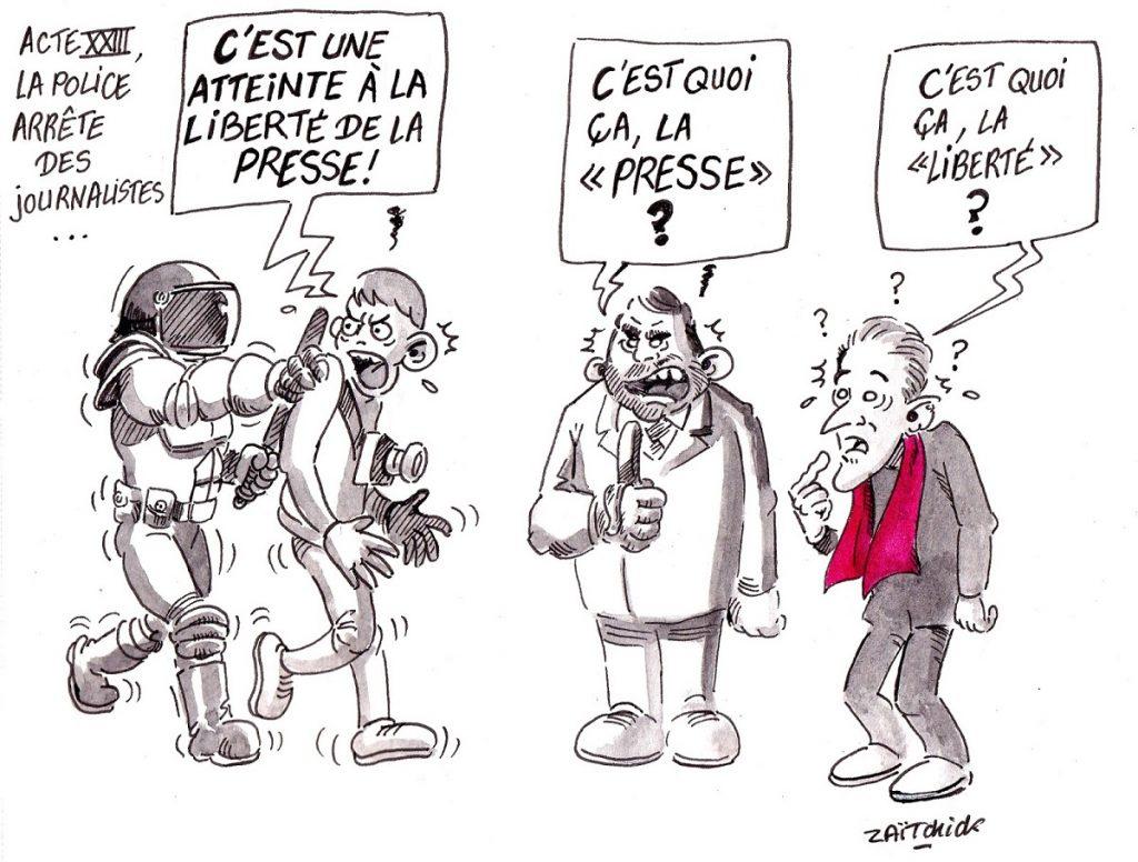 dessin d'actualité humoristique sur l'arrestation de journalistes pendant l'acte 23 des Gilets Jaunes